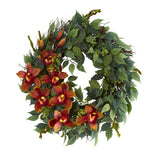 "23"" Mixed Greens and Cymbidium Orchid Artificial Wreath"