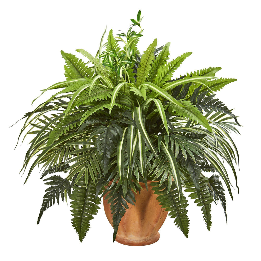 "23"" Mixed Greens and Fern Artificial Plant in  Terra Cotta Planter"