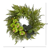 "23"" Mixed Greens and Phalaenopsis Orchid Artificial Wreath"