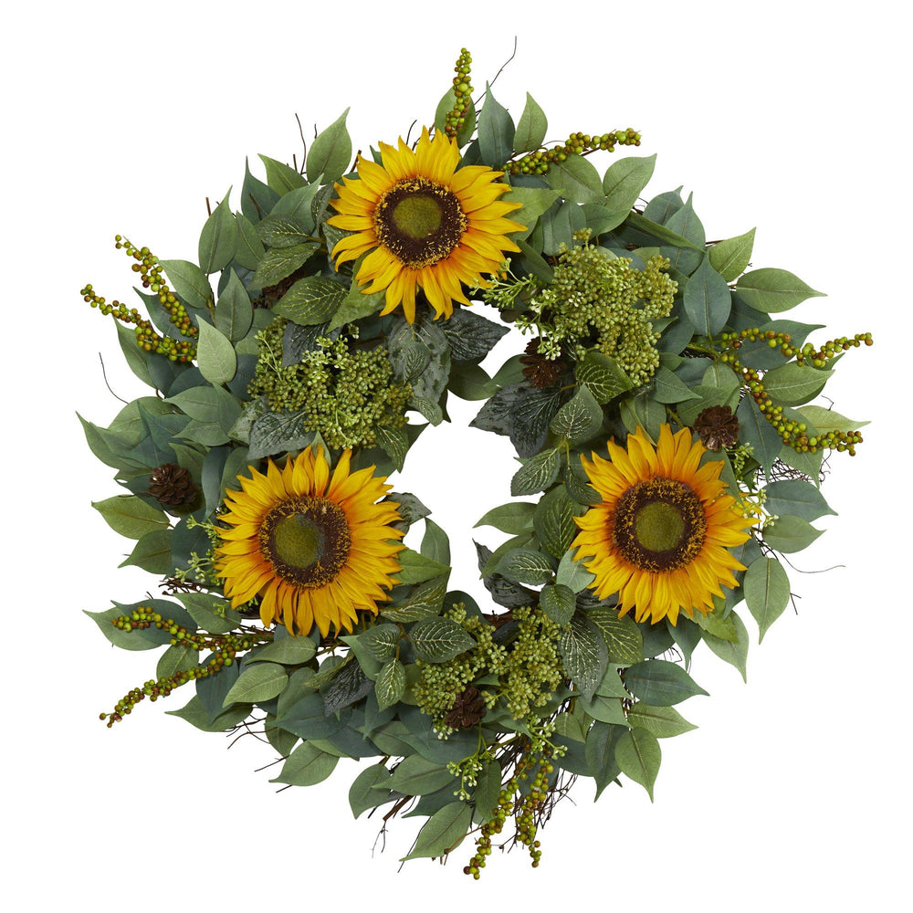 "23"" Mixed Greens and Sunflower Artificial Wreath"