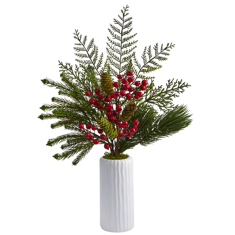 "23"" Mixed Pine, Pinecone and Berry Artificial Arrangement in White Vase"