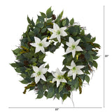"23"" Mixed Ruscus, Lily, Fittonia and Berries Artificial Wreath"