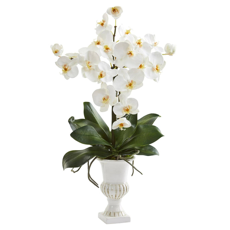 "23"" Phalaenopsis Orchid Artificial Arrangement in White Urn"