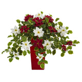 "23"" Poinsettia and Variegated Holly Artificial Plant in Decorative Planter (Real Touch)"