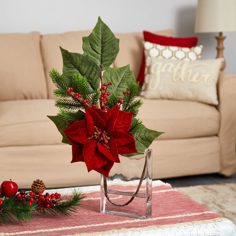 "23"" Poinsettia, Berries and Pine Artificial Arrangement in Glass Vase"