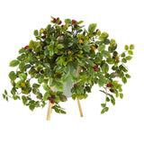 "23"" Raspberry Artificial Plant in Green Planter with Stand"