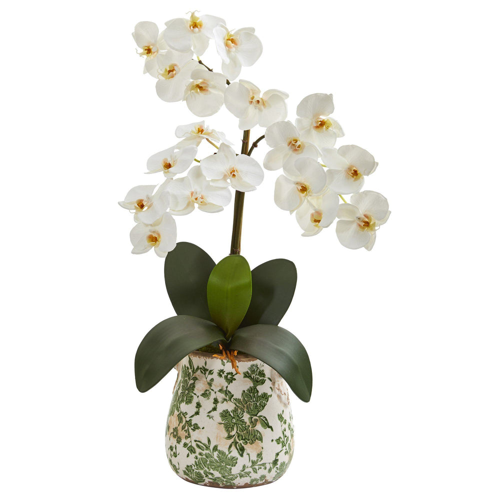 "23"" Triple Phalaenopsis Orchid Artificial Arrangement in Floral Vase"
