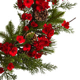 "24"" Artificial Plum Blossom Pine Wreath"
