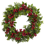 "24"" Berry Boxwood Wreath"