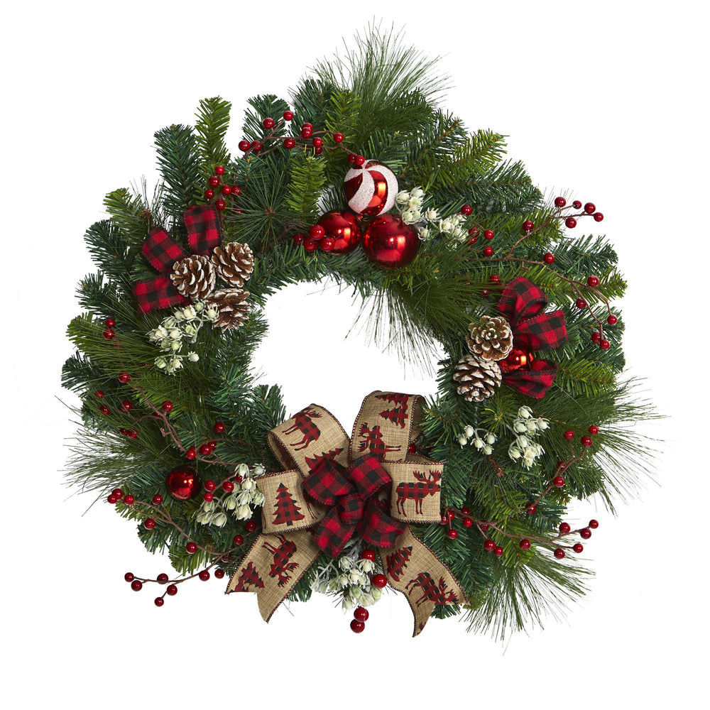 "24"" Christmas Pine Artificial Wreath with Pine Cones and Ornaments"