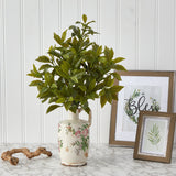 "24"" Coffee Leaf Artificial Plant in Floral Pitcher (Real Touch)"