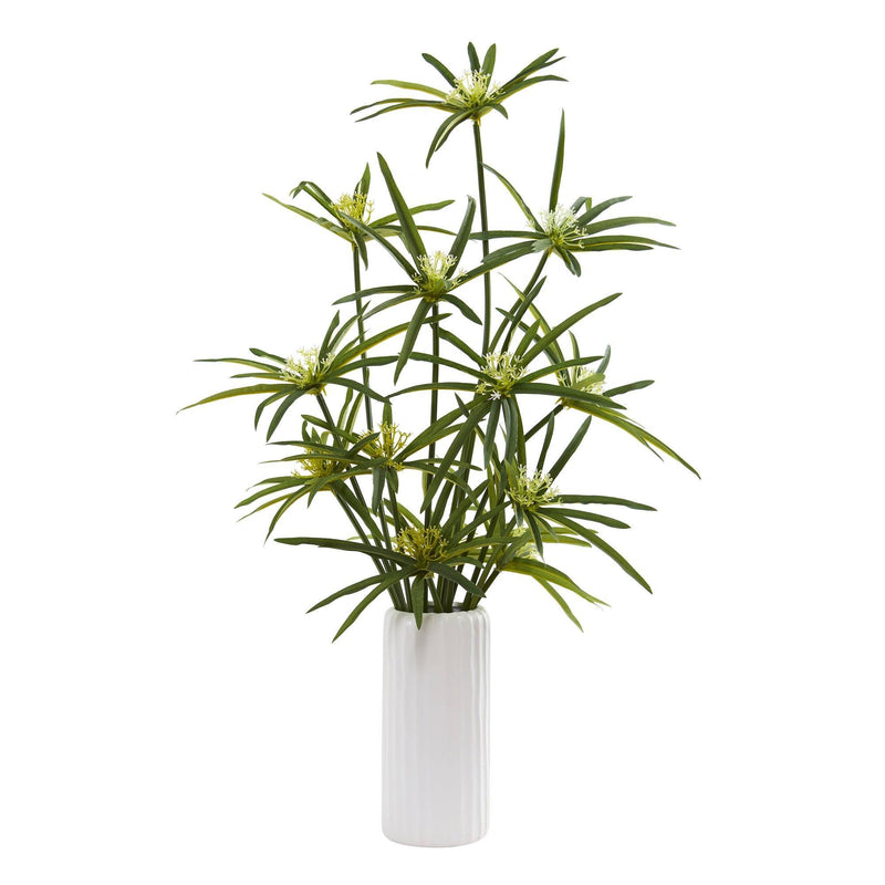 "24"" Cyperus Artificial Plant in White Planter"