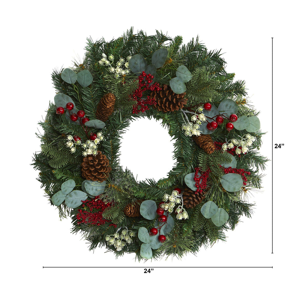 "24"" Eucalyptus and Pine Artificial Wreath with Berries and Pine Cones"
