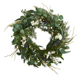 "24"" Eucalyptus, Dancing Daisy and Mixed Greens Artificial Wreath"