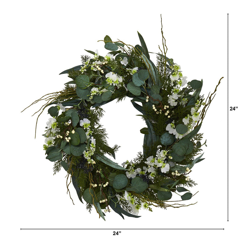 "24"" Eucalyptus, Dancing Lady Orchid and Mixed Greens Artificial Wreath"