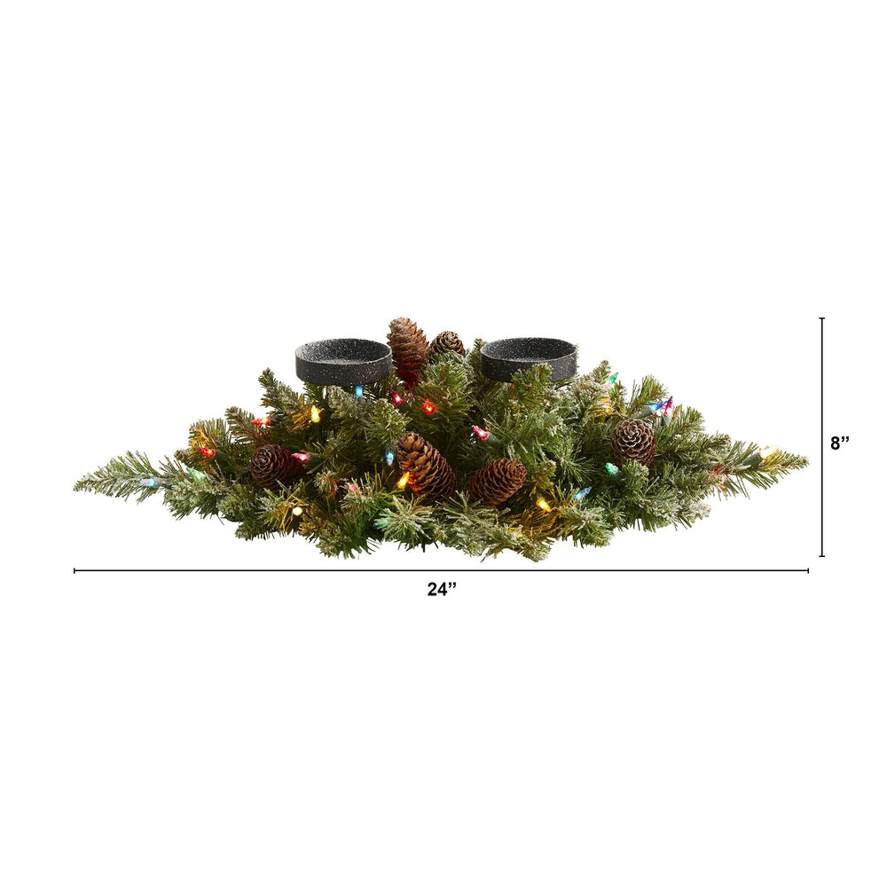 "24"" Flocked Artificial Christmas Double Candelabrum with 35 Multicolored Lights and Pine Cones"