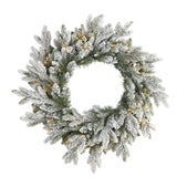 "24"" Flocked Artificial Christmas Wreath with 50 LED Lights"