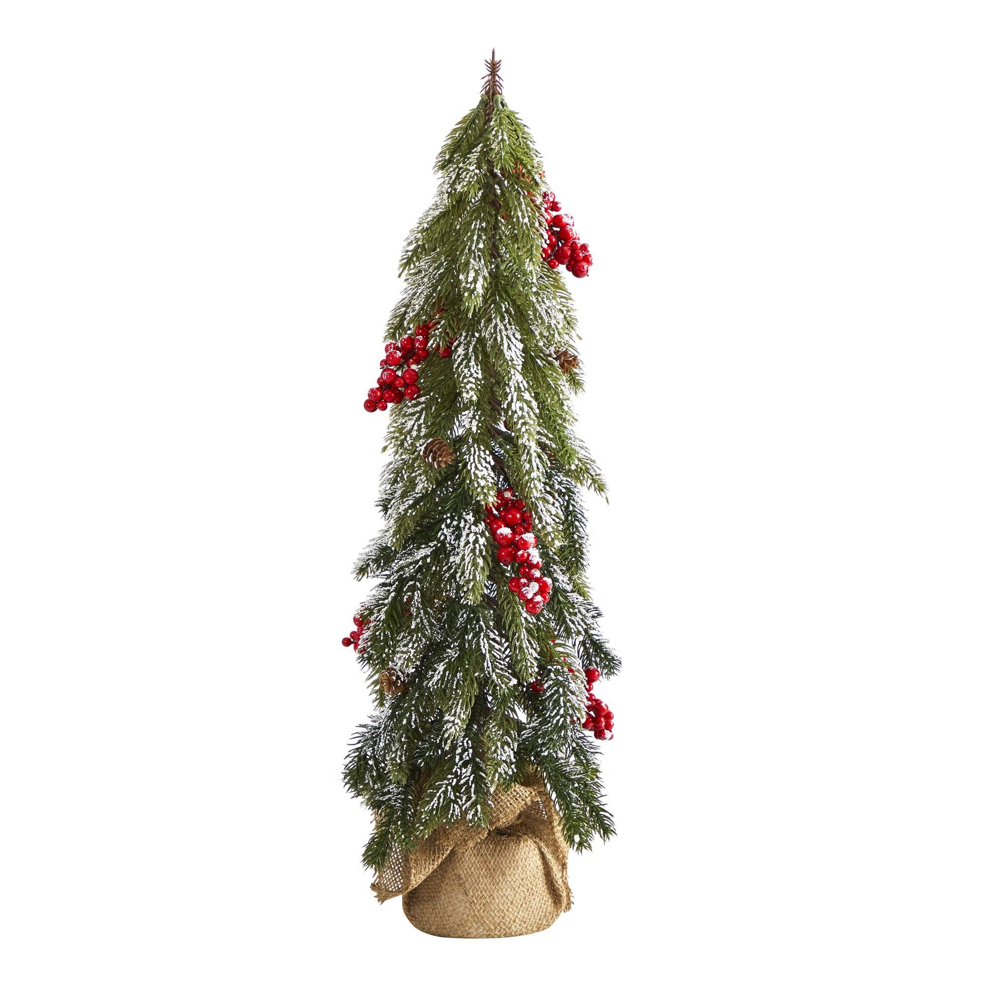 """24"""" Flocked Christmas Artificial Tree with Berries and ..."""