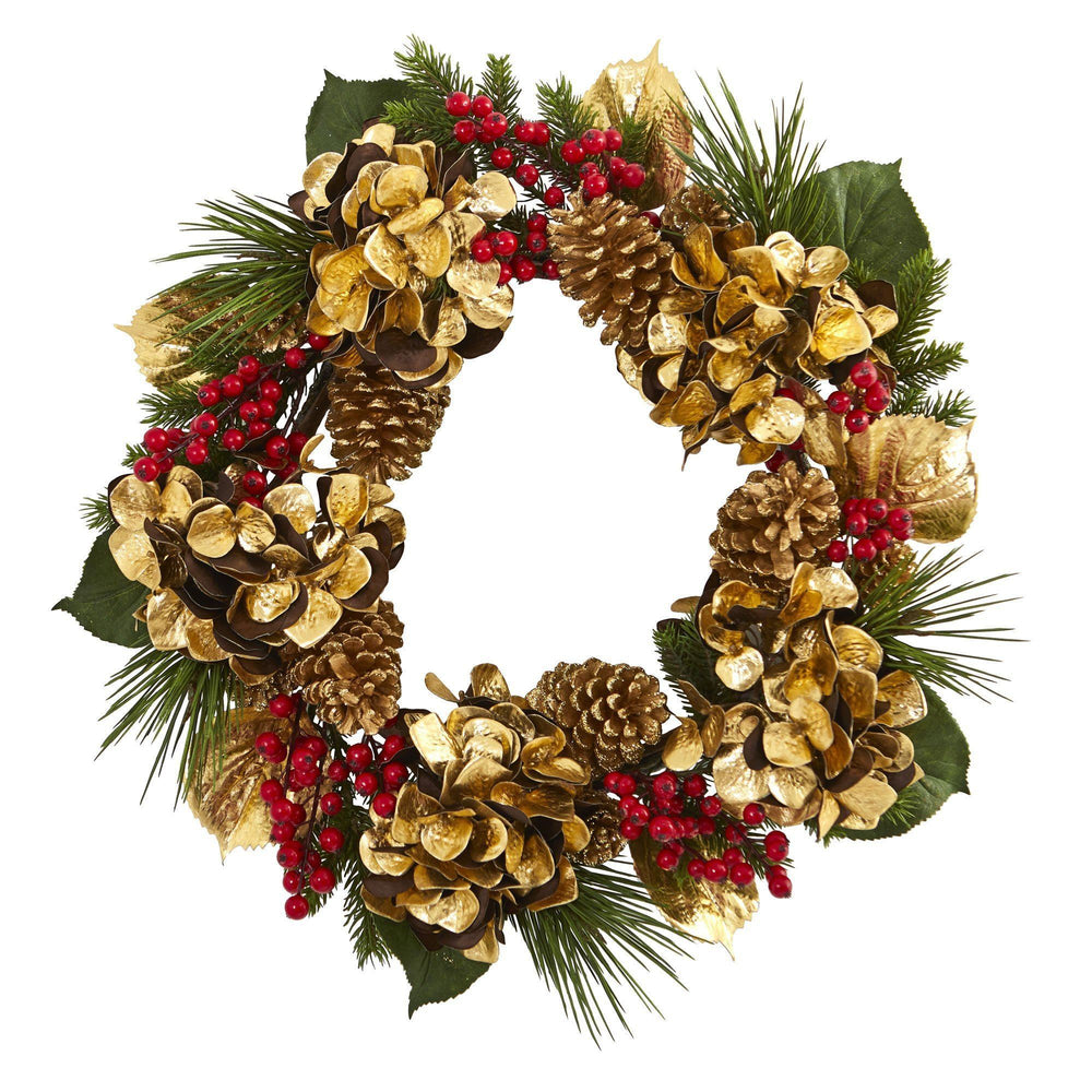 "24"" Golden Hydrangea with Berries and Pine Artificial Wreath"