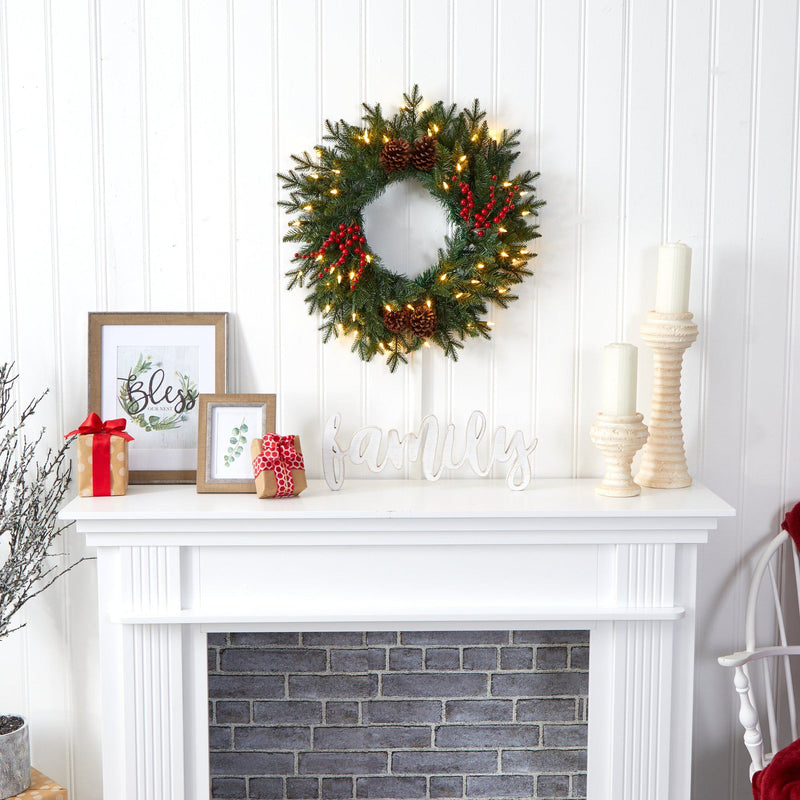 "24"" Green Pine Artificial Christmas Wreath with 50 Warm White LED Lights, Berries and Pine Cones"