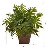"24"" Hares Foot Fern Artificial Plant in Brown Planter (Real Touch)"
