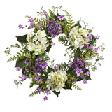 "24"" Artificial Hydrangea & Berry Wreath Lively Greens and Purple"