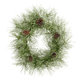 "24"" Iced Pine Artificial Wreath with Pine Cones"
