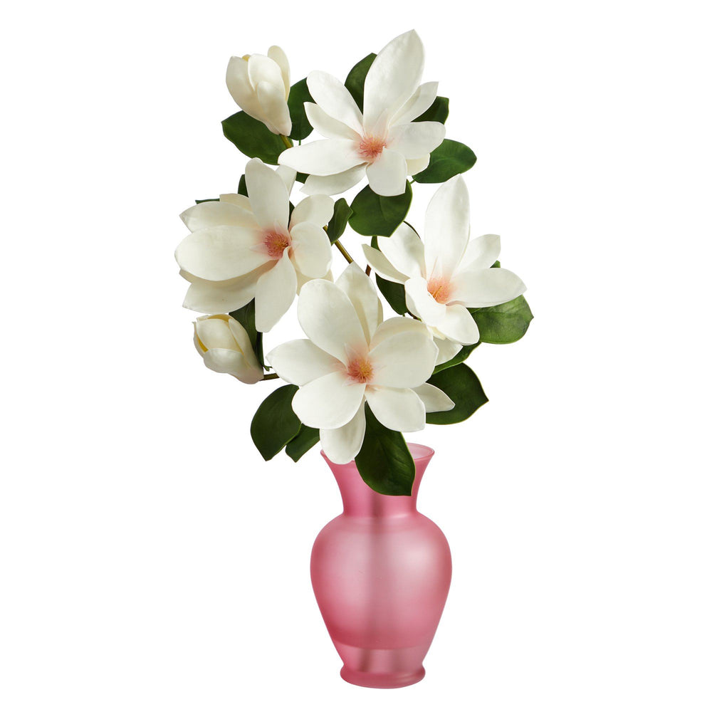 "24"" Japanese Magnolia Artificial Arrangement in Rose Colored Vase"