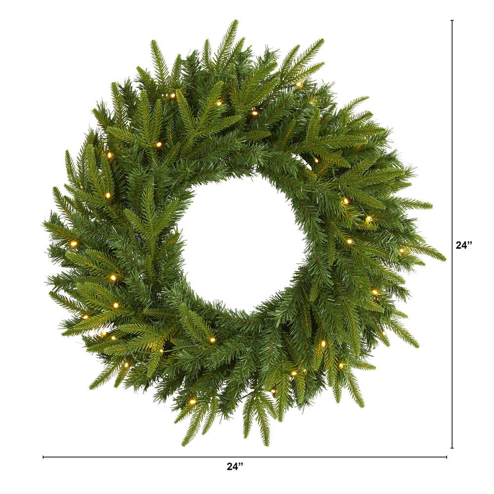 "24"" Long Pine Artificial Christmas Wreath with 35 Clear LED Lights"