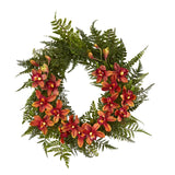 "24"" Mixed Fern and Cymbidium Orchid Artificial Wreath - Multiple Colors"