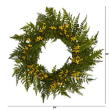 "24"" Mixed Fern and Forsythia Artificial Wreath"