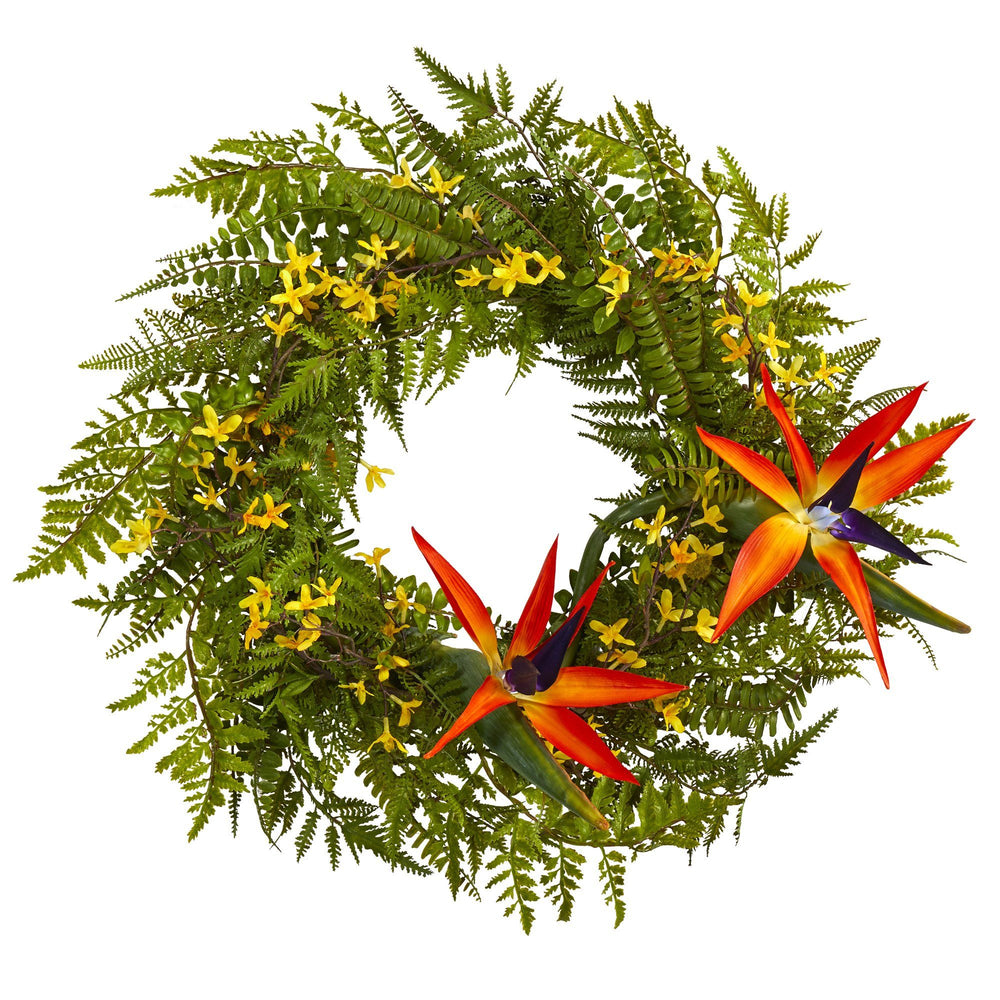 "24"" Mixed Fern, Forsythia and Bird of Paradise Artificial Wreath"
