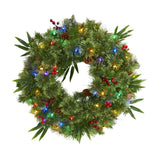 "24"" Mixed Pine Artificial Christmas Wreath with 50 Multicolored LED Lights, Berries and Pine Cones"
