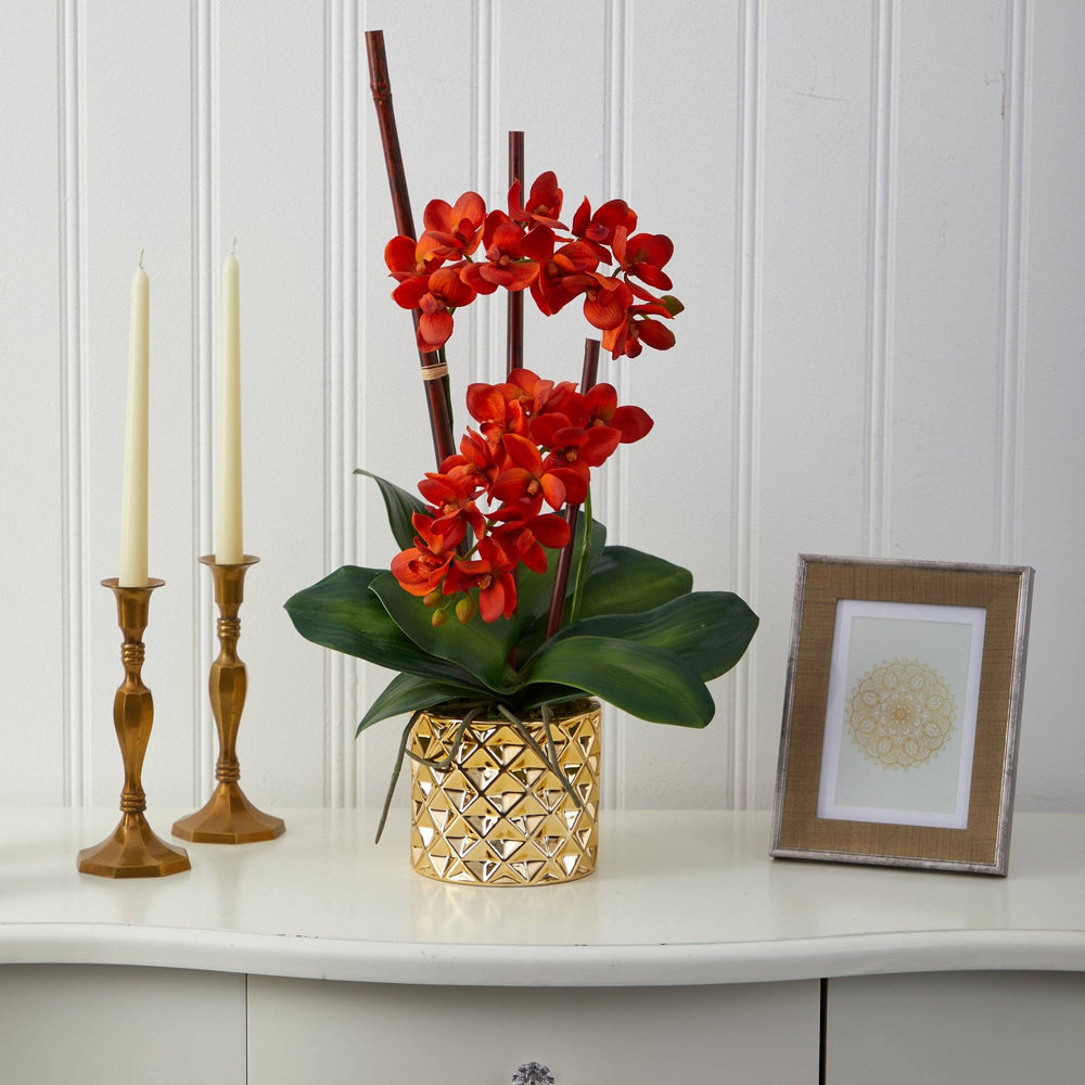"24"" Phalaenopsis Orchid Artificial Arrangement in Gold Vase"