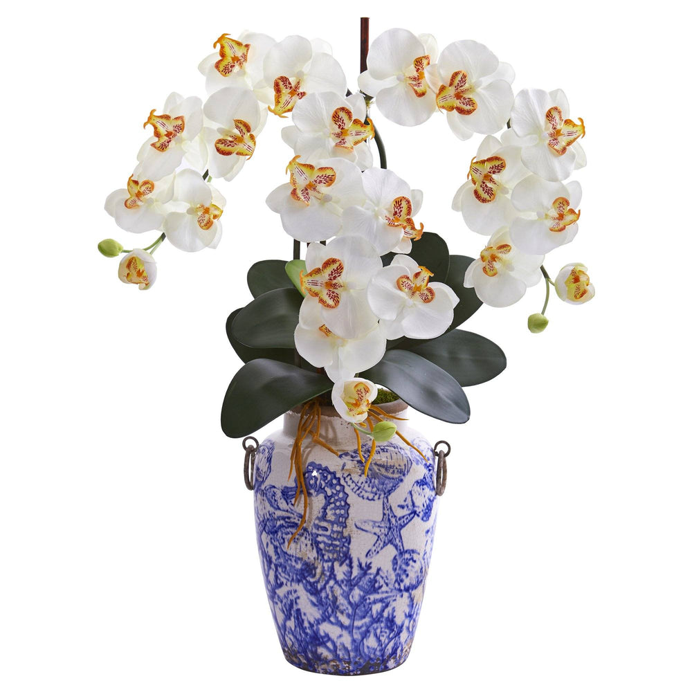 "24"" Phalaenopsis Orchid Artificial Arrangement in Weathered Ocean Vase"
