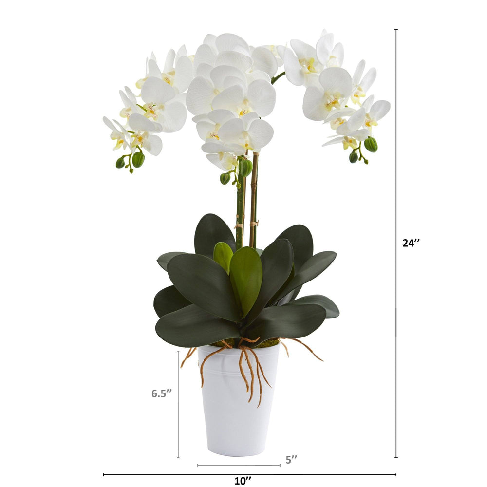 "24"" Phalaenopsis Orchid Artificial Arrangement in White Vase"