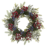 "24"" Pine and Cedar Artificial Wreath with Berries"