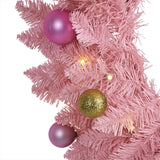 "24"" Pink Artificial Christmas Wreath with 35 LED Lights and Ornaments"