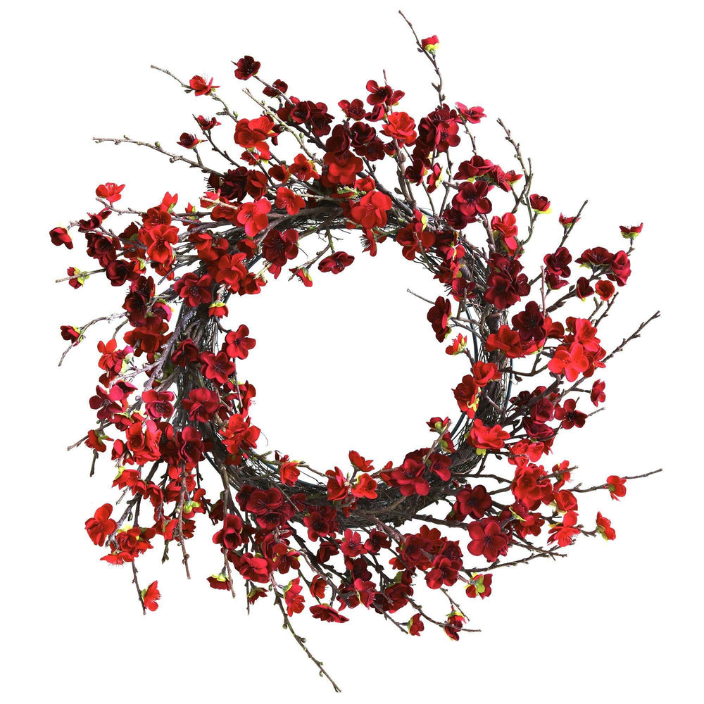 "24"" Plum Blossom Artificial Wreath"