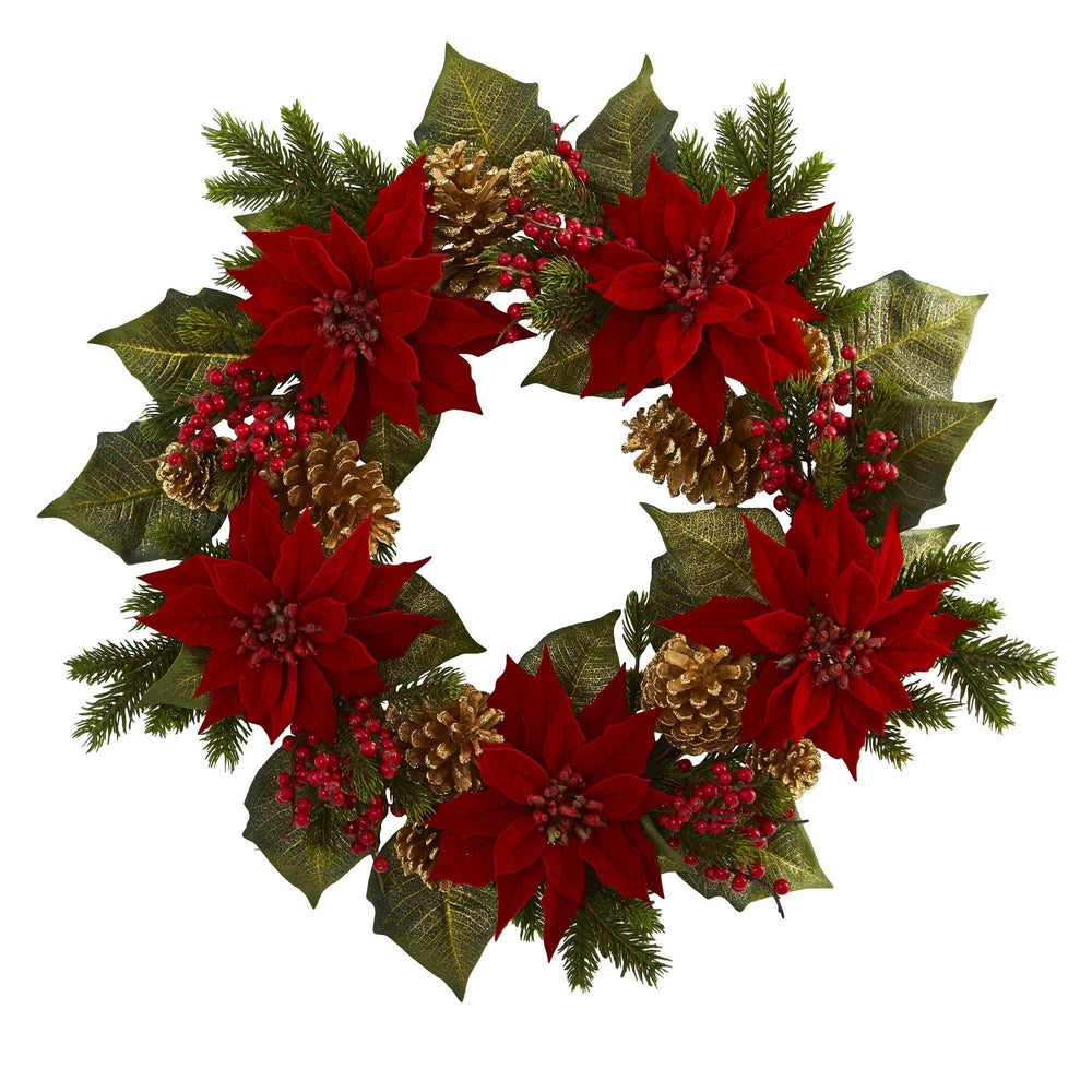 "24"" Poinsettia, Berry and Golden Pine Cone Artificial Wreath"