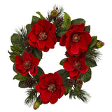 "24"" Red Magnolia & Pine Wreath"