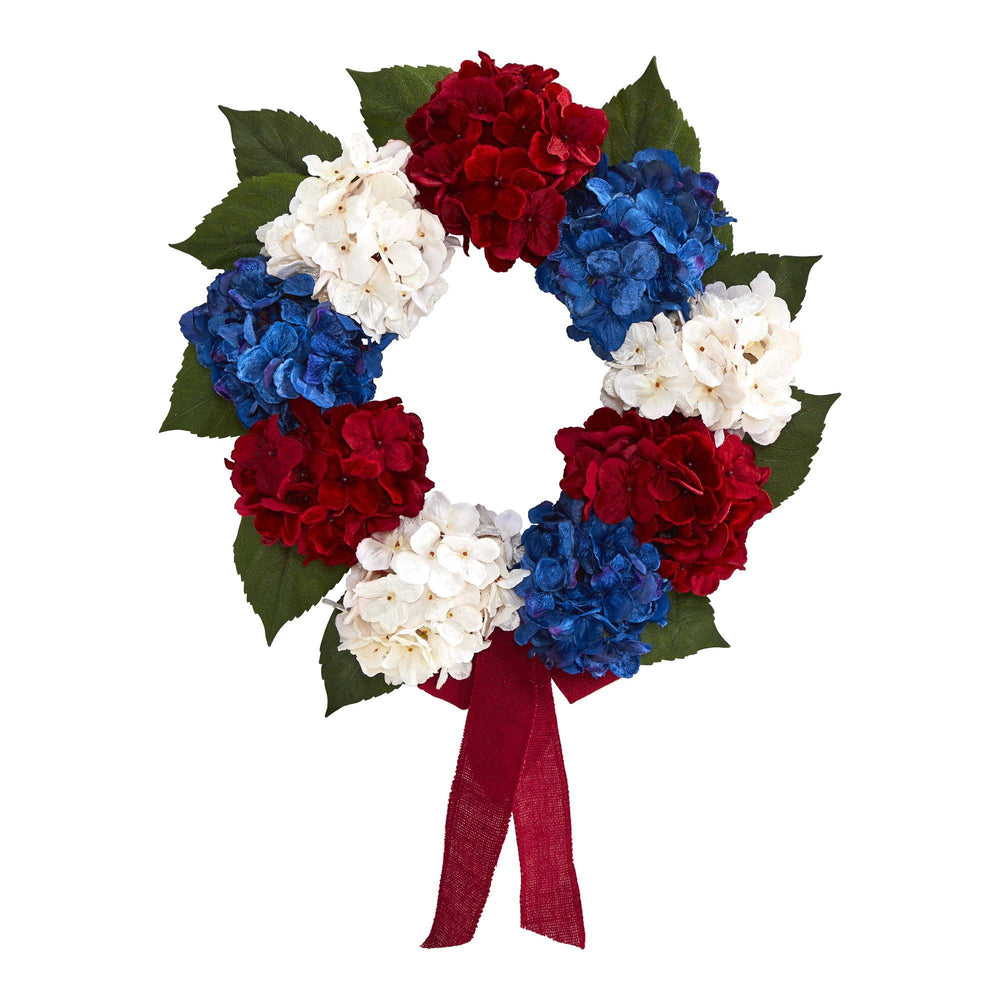 "24"" Red, White and Blue ""Americana"" Hydrangea Artificial Wreath"