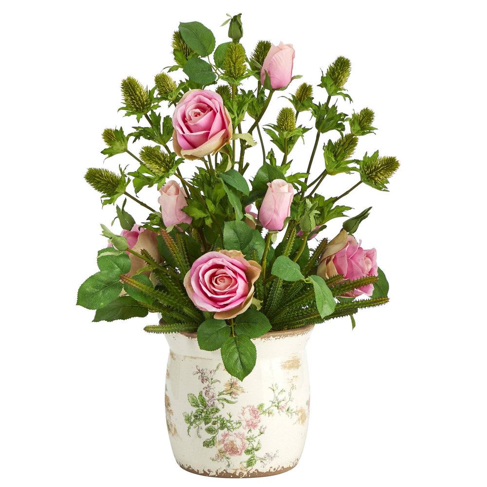 "24"" Rose, Thistle and Succulent Artificial Arrangement in Floral Vase"