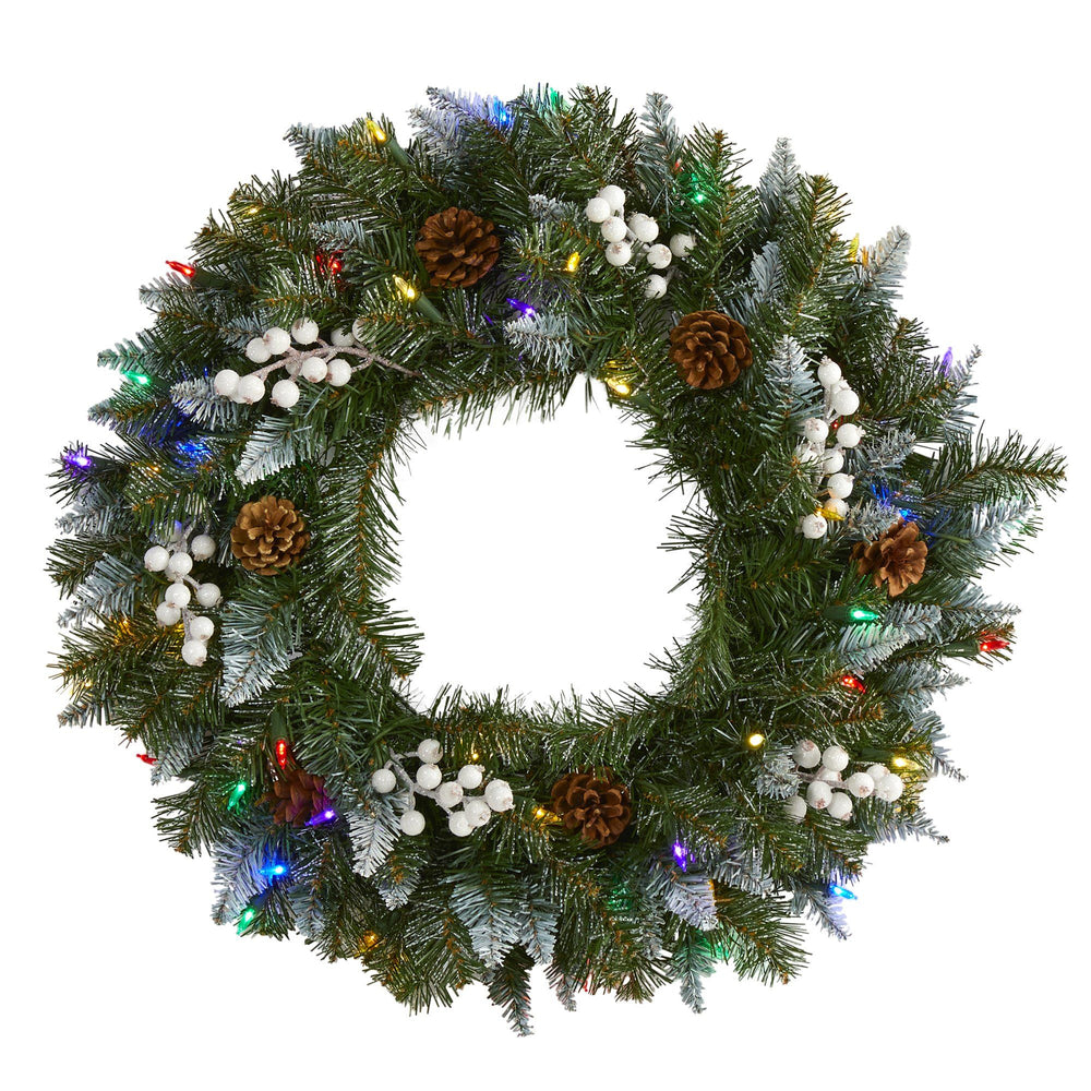 "24"" Snow Tipped Artificial Christmas Wreath with 50 Multicolored LED Lights, White Berries and Pine Cones"