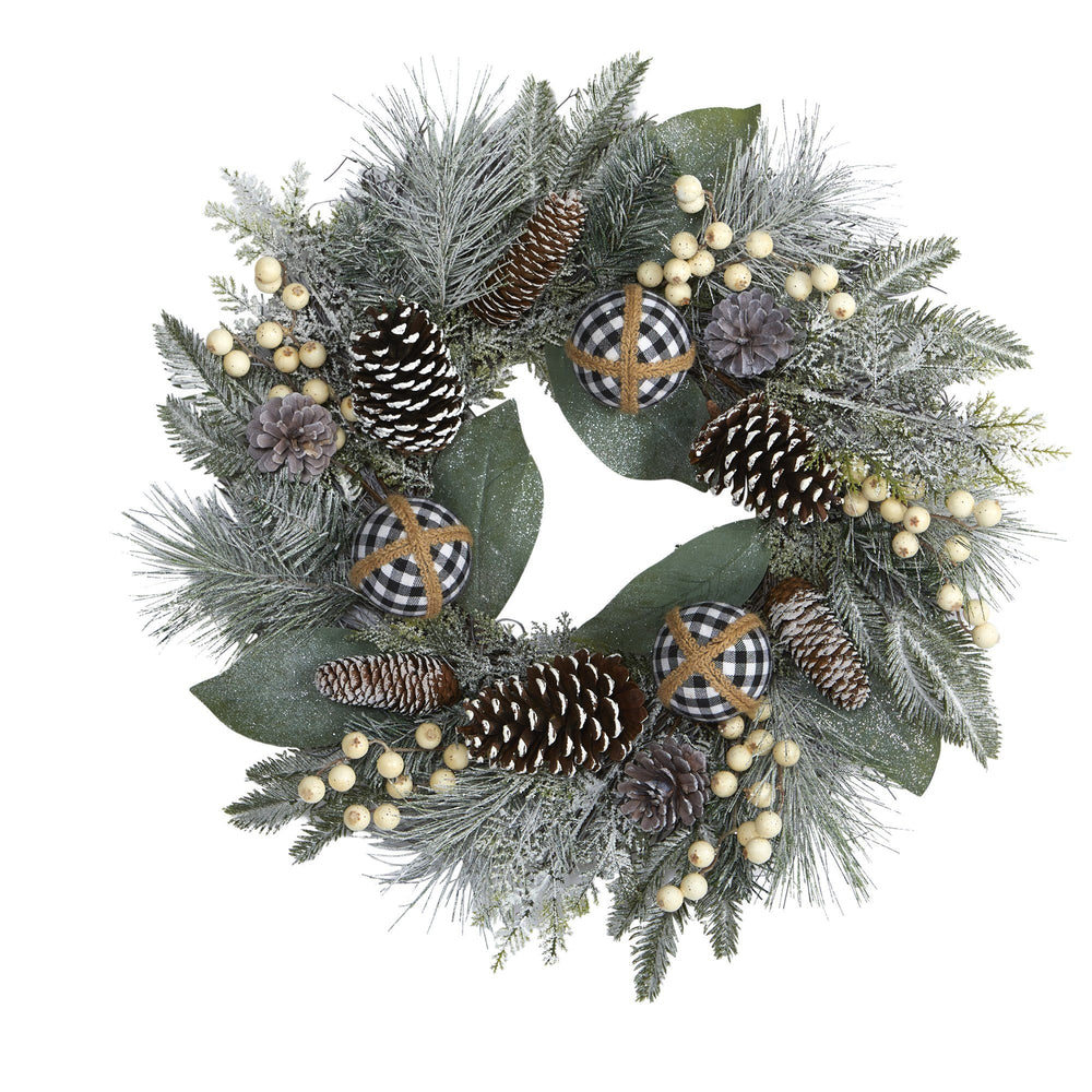 "24"" Snow Tipped Holiday Artificial Wreath with Berries, Pine Cones and Ornaments"