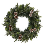 "24"" Snowed Pinecone Artificial Christmas Wreath with 35 Clear LED Lights"