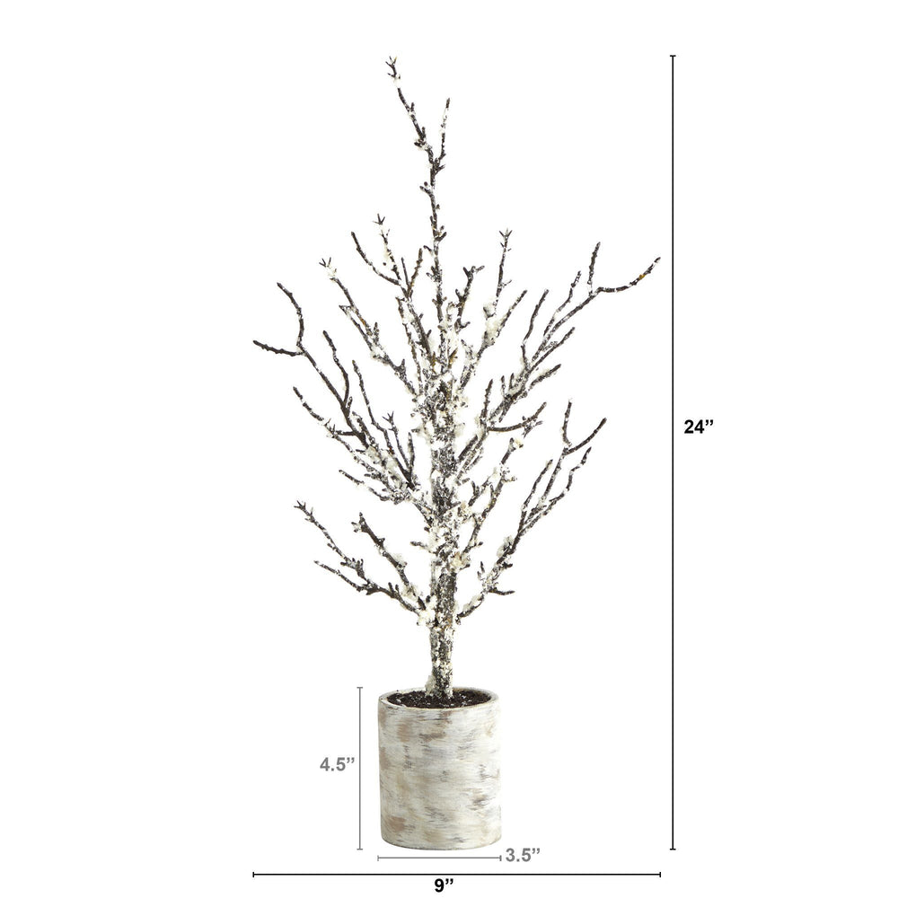 "24"" Snowed Twig Artificial Tree in Decorative Planter"