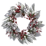 "24"" Snowy Magnolia Berry Artificial Wreath"