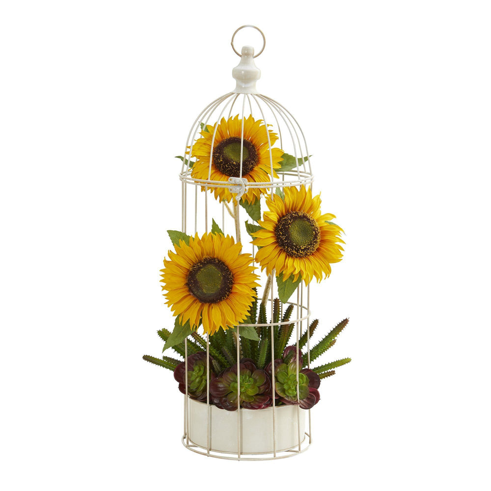 "24"" Sunflower, Cactus and Echeveria Artificial Arrangement in Decorative Cage"