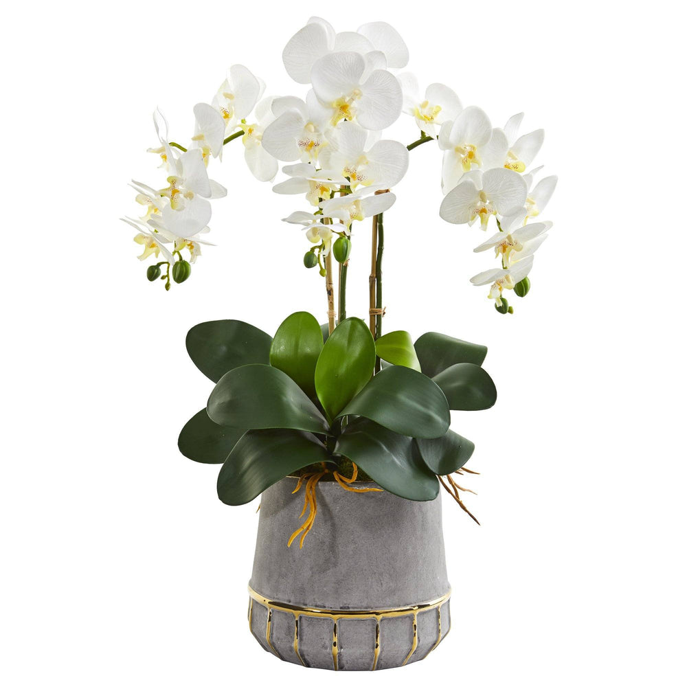 "24"" Triple Phalaenopsis Orchid Artificial Arrangement in Stoneware Vase with Gold Trimming"
